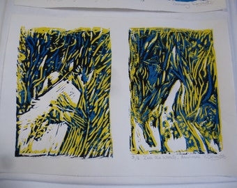 NEW LINO Prints for Winter Season - French Country Lane Series : Into the Woods