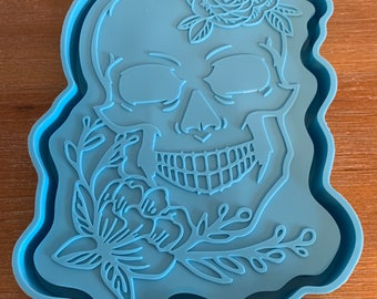 """Small/medium skull rolling rectangle tray, 9""""x5 1/2"""" mold for resin, with edge, lip for Please read the ITEM Details"""