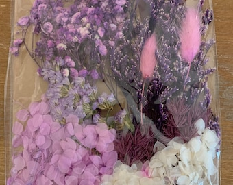 Dried  flower mix, pastel purples, pinks, and lavender colored, diy crafts, resin, jewelry