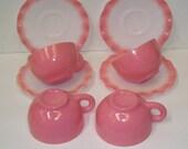 4 Sets Hazel Atlas Pink ripple Crinoline Cups and Saucers, Pink and White Hazwl Atlas