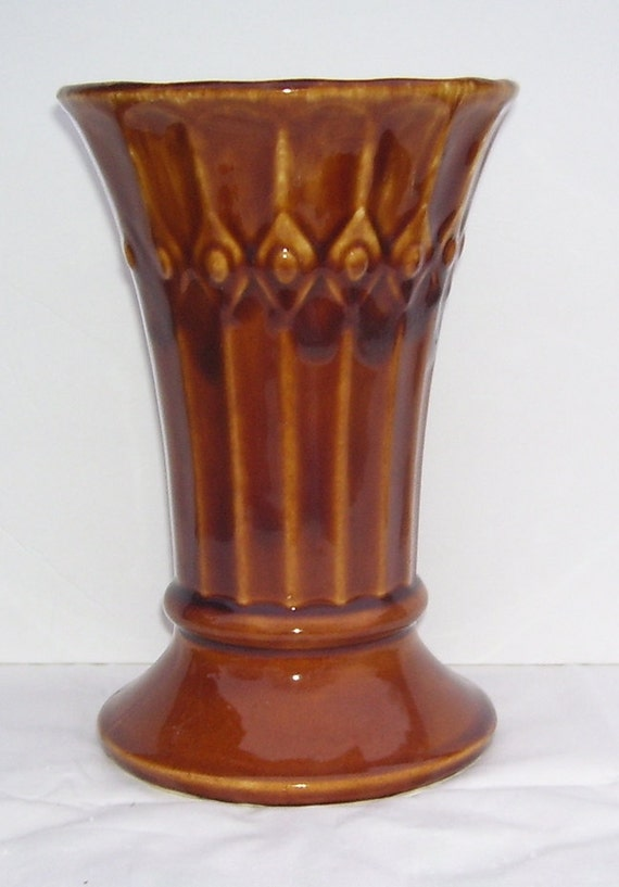 Mccoy Tiara Tall Brown Usa Pottery Flower Vase Vertical Etsy
