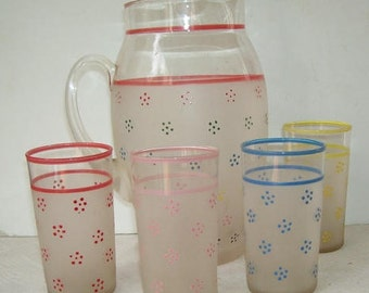 Large 10 Cup Frosted Glass Pitcher, 4 Matching Glasses with Stars and Red Trim, Server, Country Rustic, Kitschy Retro, Retro Pitcher
