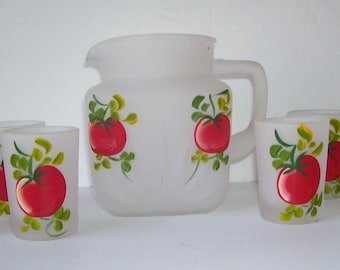 Federal Glass Satin Pitcher with 6 Matching Glasses, Hand Painted Tomatoes, 4 Cup Pitcher, Vintage Kitchen, Summer Cottage Servers