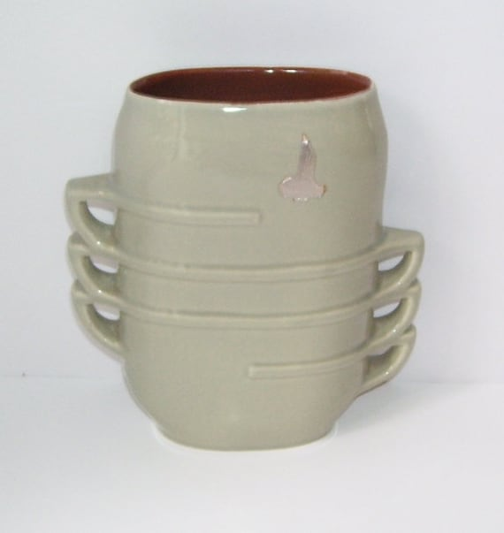 Red Wing Stacked Teacup 1359 Vase Grey Red Wing Vase Etsy