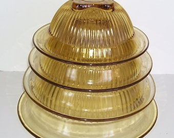 4 Federal Glass Stacking Bowls, Ribbed Sides, Golden Glow, Nesting Mixing Bowls, Amber Glow, Square Bottoms, Ribbed Side, Kitchen Decor,