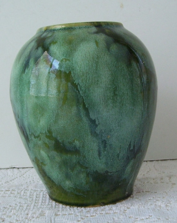 Brush Mccoy Green Onyx Gloss Vase Antique Brush Mccoy Etsy