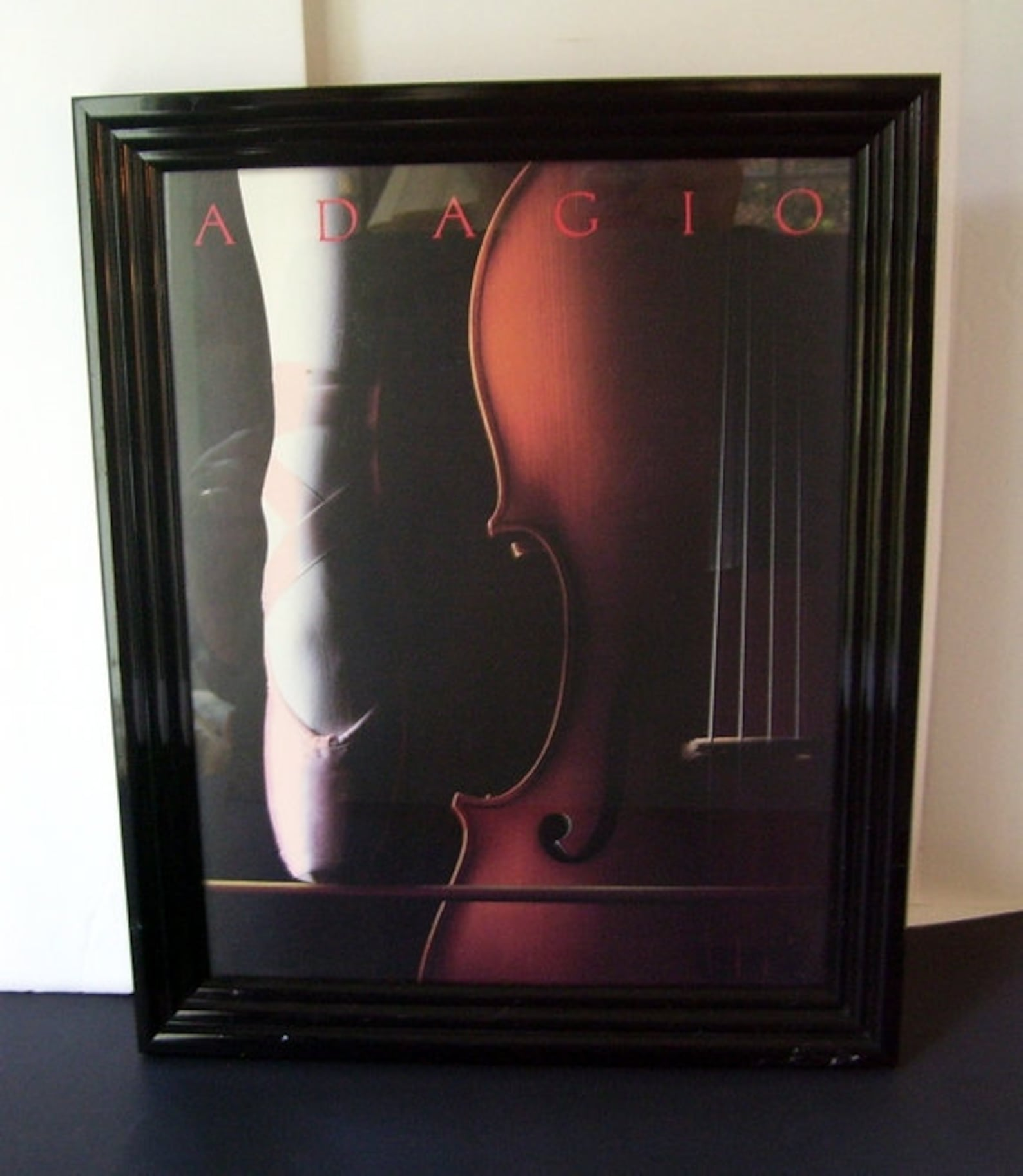 adagio ballerina with violin framed photo print, pink ballet shoes, framed wall decor, musical theme