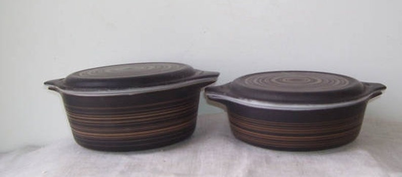 Promotional Pyrex 2 Pyrex Brown Terra Casserole Bowls Terra Brown Swirl Ovenware Bowls 1 12 Pint and 2 Pint Bowls with Matching Lids