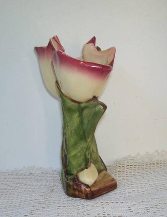 Vintage Mccoy Tulip Pink Flower Vase Hand Painted Vase Etsy