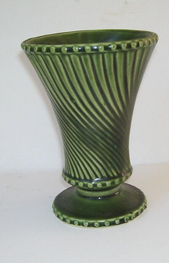 Vintage Swirl Green Mccoy Vase Swirl Pattern Mccoy Vase Etsy