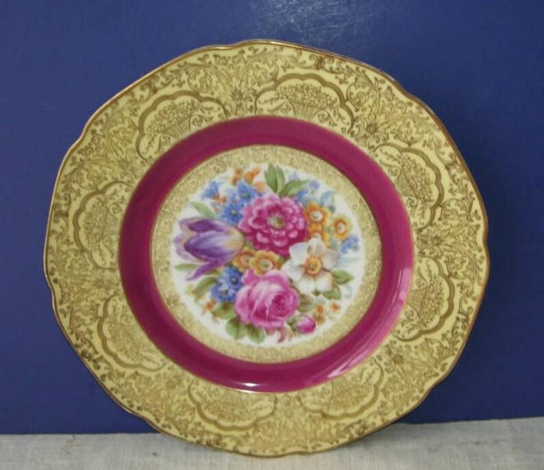 Bavarian China Plate, Gold Trim, Pink Roses, Summer flowers, P T  Bavaria,  Bavarian Charger, Wall Decor, Vintage Porcelain, German Porcelain