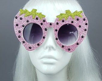 c0a363e1b45c Strawberry Glitter Novelty Fancy Dress Sunglasses