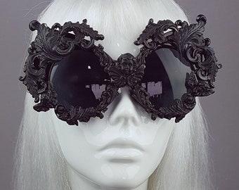 025b4285bb1e Black Filigree Ornate Sunglasses, Statement Sunglasses, Baroque, Rococo,  Gothic Fashion, Goth Accessories, Large Eyewear, Novelty, Couture