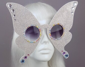 79d48ddbc12 Diamond Glitter Butterfly Sunglasses