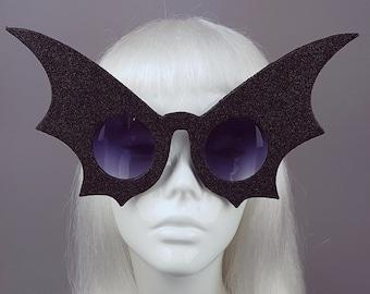 eaf17570b71 Black Glitter Bat Wing Sunglasses