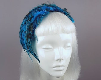 Blue Vintage Inspired Feather Fascinator bf33232e858
