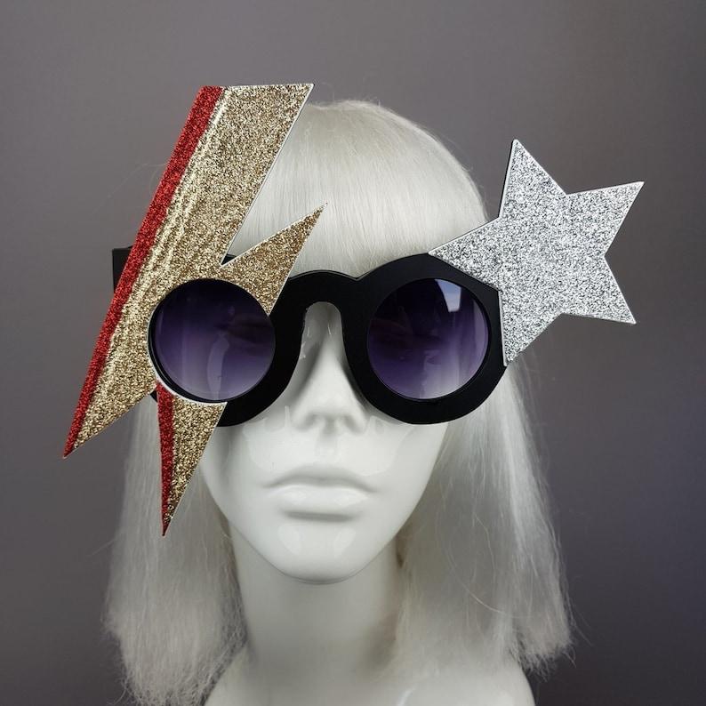 445806f2b5 David Bowie Gold Lightening Stripe Sunglasses Wearable Fan
