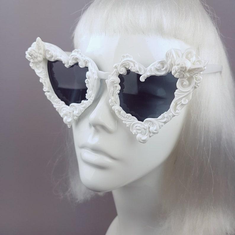 White Filigree Cherub Heart Shaped Sunglasses, Marie Antoinette, Rococo, Baroque, Gothic Lolita, Statement Eyewear, Alt Fashion, Quirky, UK