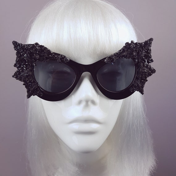9f5bab3b55b Black Filigree Bat Wing Sunglasses Alt Fashion Eyewear