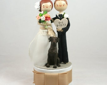 Custom Keepsake Wedding Cake Topper with 1x CUSTOM CLOTHING and 1x PET