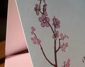 Pink Blossom on Branch Personalized / Monogrammed  Stationery. Set of 10.Gift Ready.