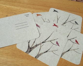 Fall inspired postcards, featuring birds. Winter branches in the Fall Postcards. Set of 4
