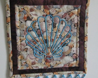 Beaded Wall Hanging with Turquoise Shell