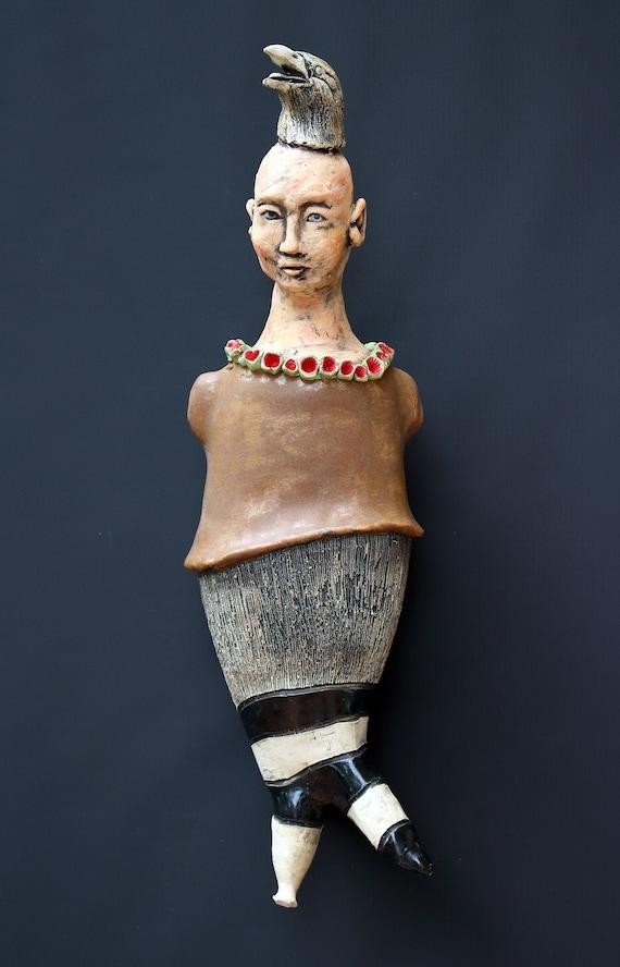 Ceramic sculpture,Ceramic doll,One of a kind doll,Figurine,Art doll,Handmade doll,Hand built sculpture,Clay sculpture,Wall hanging sculpture