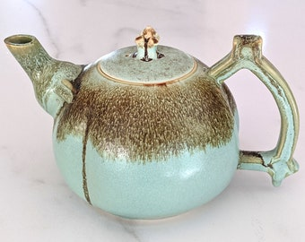 36oz Ceramic teapot with pale green and brown glazes, handmade by Jason Hooper Pottery