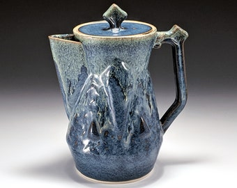 40oz Ceramic coffee pot or teapot with blue and green glazes, handmade by Jason Hooper Pottery