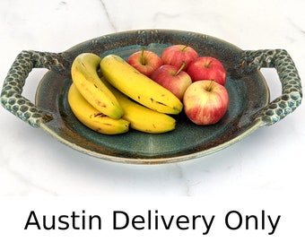 Austin local pickup/drop off only: Ceramic serving platter, tray, wall plate with green and accent glazes, handmade by Jason Hooper Pottery