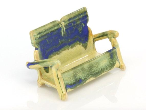 Visitenkartenhalter Keramik Mit Gelben Und Blauen Glasuren Handgefertigt Von Jason Hooper Keramik