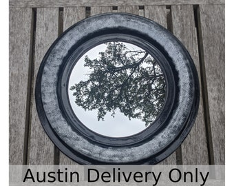 Austin local pick up/drop off only: Round mirror in ceramic frame with black and white glazes, handmade by Jason Hooper Pottery