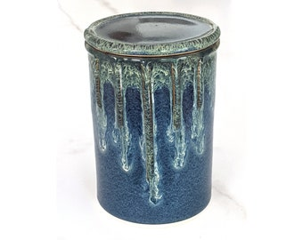 Ceramic Cookie Jar, Canister, Biscuit Jar, Kitchen Jar, Candy Jar with blue and accent glazes, handmade by Jason Hooper Pottery
