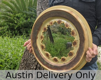 Austin local pick up/drop off only: Convex mirror in ceramic frame with yellow and brown glazes, handmade by Jason Hooper Pottery