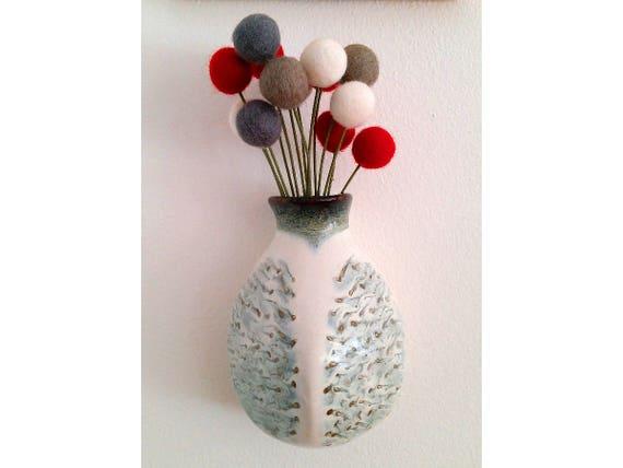Ceramic Wall Vase Bud Vase Flower Vase With Black And White Etsy