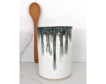 Large Ceramic Crock, Kitchen Jar, Spoon Jar, Wine Cooler with white and black glazes, handmade by Jason Hooper Pottery
