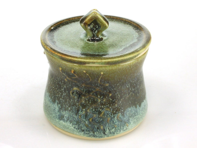 Ceramic sugar jar or bowl with green and brown glazes and full lid handmade by Jason Hooper Pottery