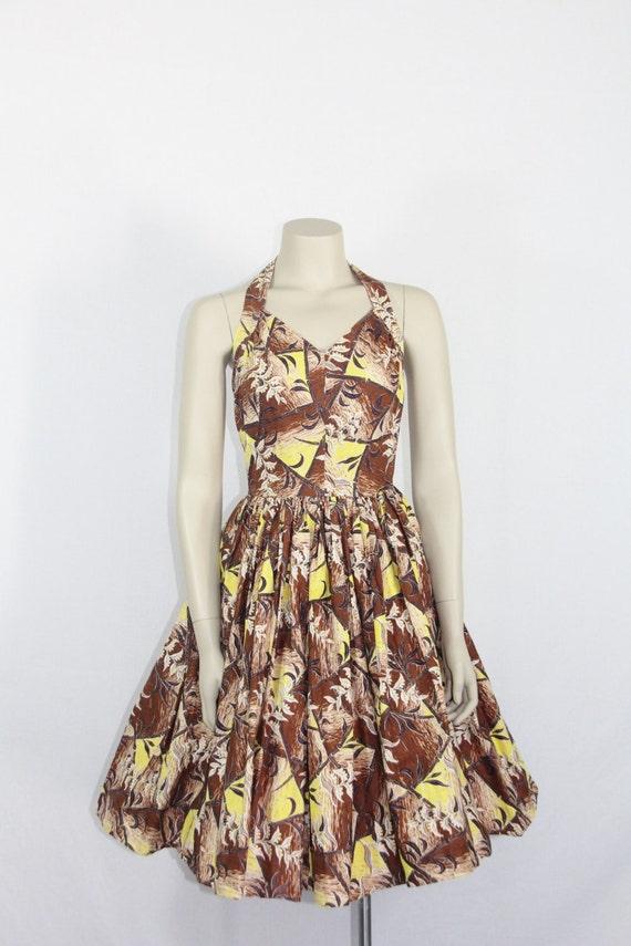 1950s Hawaiian Dress - Vintage Halter Hawaiian Dre