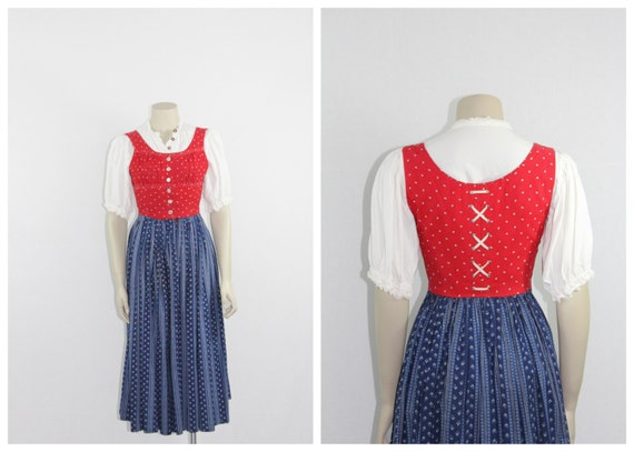 Late 1940s Early 1950s Vintage Dirndl - Red and Bl