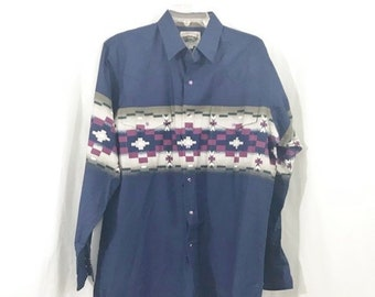 e7db289e4 Vintage 1980s Men's Cumberland Outfitters Blue Southwestern Snap Front  Shirt L