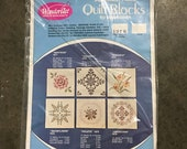 Vintage WonderArt American Embroidery Quilt Blocks Kit for Embroidery Crosstitch Needlepoint Sewing Quilting Pillows 1976