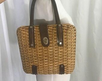 Vintage 1960s Brown Leather Basket Handbag Purse 31f32c47d83e4