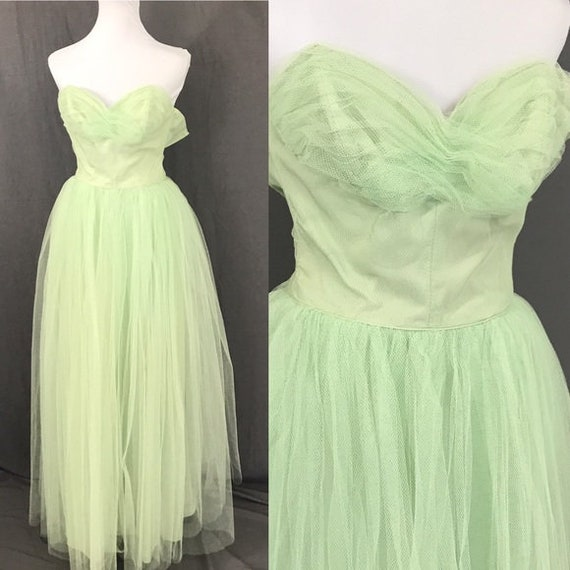 Vintage 50s Tulle Mint Green Cupcake Prom Sweethea