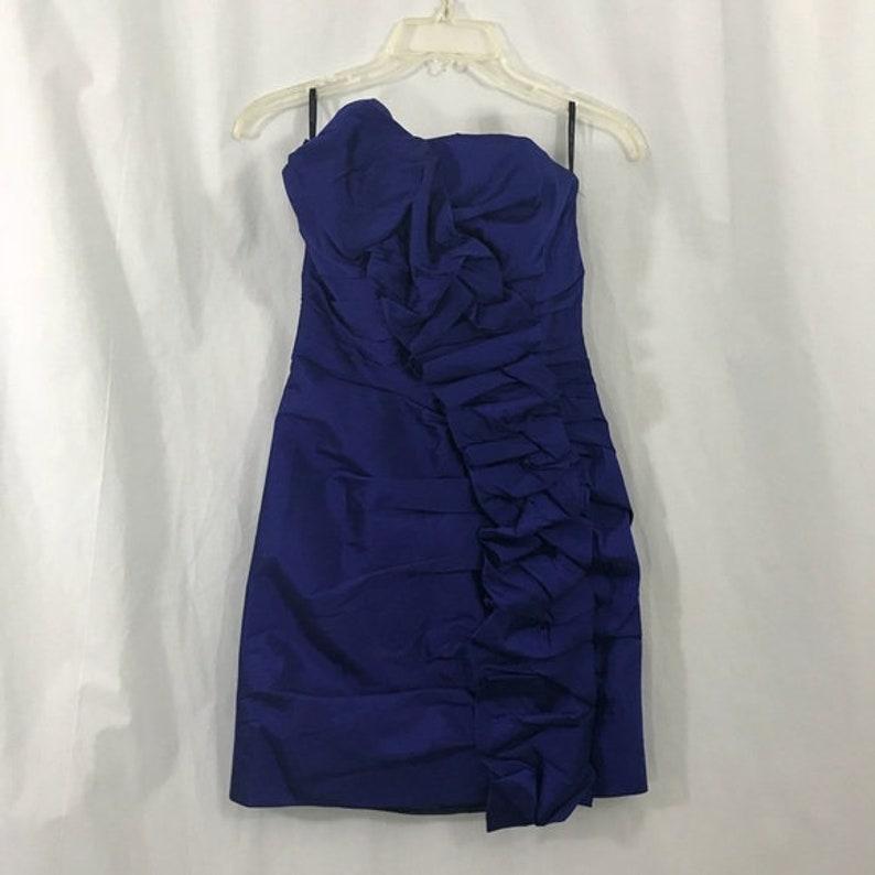 Jessica McClintock Royal Blue Ruffle Taffeta Cocktail Social Homecoming Dress 4