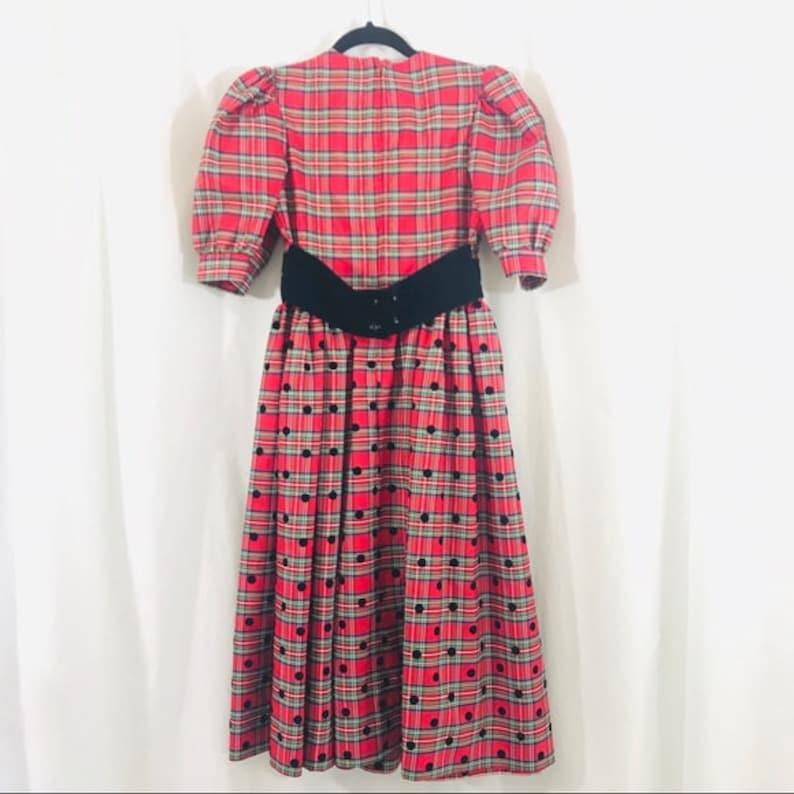 Vintage Jan Briggs Tartan Plaid Red Green with Black Velvet Polkadot Full Skirt Dress XS