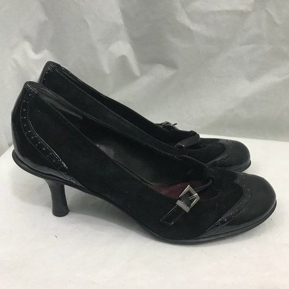 Vintage 20s Insppired Black Unisa Suede Patent Etsy