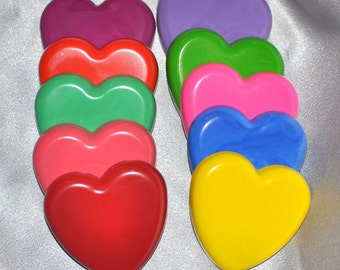 School Class Valentine Favors, Hearts Recycled Crayons, Total of 35.  Boy or Girl Kids Unique Party Favors, Crayons.