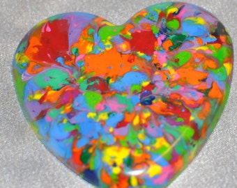 School Class Valentine Favors, Multi Colored Hearts Recycled Crayons, Total of 25.  Boy or Girl Kids Unique Party Favors, Crayons.