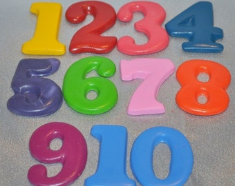 Crayons Large Numbers 1 - 10.  Boy or Girl Kids Unique Party Favors, Crayons.